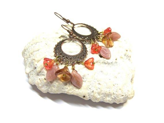 Chandelier Earrings with Flowers Gypsy Boho Tribal Ethic Jewelry Gifts for Women Top Selling Jewelry Copper filigree leaf earrings
