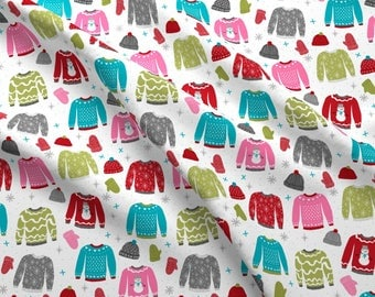 Sweater Fabric - Snow Day Winter Ugly Christmas Sweaters By Charlottewinter - Hipster Holiday Cotton Fabric By The Yard With Spoonflower