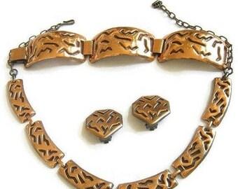 Modernist Copper Necklace, Bracelet and clip Earrings Set Vintage