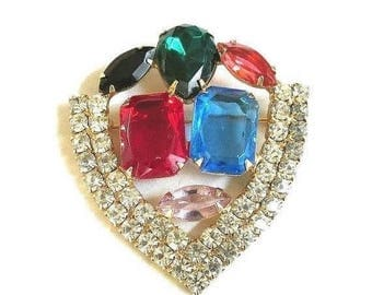 SALE Multi Color Rhinestone Shield Brooch Vintage