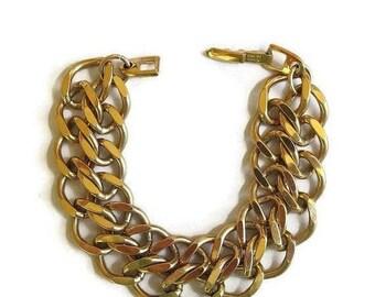 SALE Napier Bracelet Heavy Double Chain Link Vintage Signed Pat. Pending