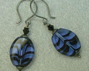 Vintage German Givre Glass Blue Black Oval Flat Dangle Drop Bead Earrings,Vintage Black Crystal,Handmade Oxidized Sterling Silver Ear Wires