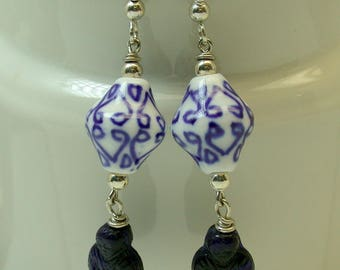 Vintage German Cobalt Blue Buddha Pressed Glass Bead Dangle Drop Earrings, Vintage Chinese White Blue Porcelain Beads ,Silver Ear Wires