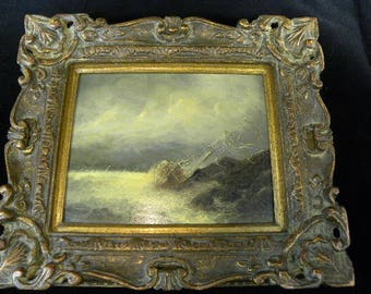 Original Oil Painting by J Redert Sailboat in a Storm Nautical Painting