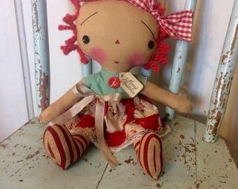 Merry Christmas Raggedy Ann Doll - Raggedy Annie - Raggedy Annie doll - Holiday doll - Holidays - Santa doll -