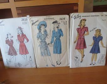 Lot of 1940s ADVANCE Du Barry Patterns / Girls Dress Womens Dress  / Size 12 / cild size 8 and 6 / Unused sewing pattern / Lot of 3 patterns