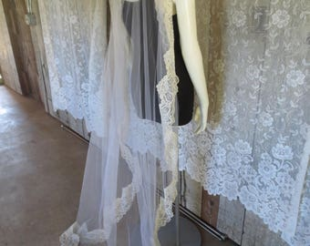 Vintage Veils, Wedding, Bride, Headdress, Costume, Lace, Old Veil, Wedding Accessories, Photography Prop, Halloween