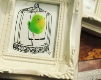 Little Original Framed Drawing, of bird in cage, by Andrea Joseph
