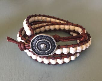 Cream beaded wrap bracelet