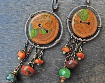 "Wood button artisan earrings by fancifuldevices- ""Autumn Blossom"""