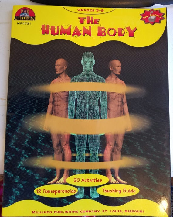 The Human Body Anatomy worksheet book grades 5-9 science 1986 vintage homeschool books