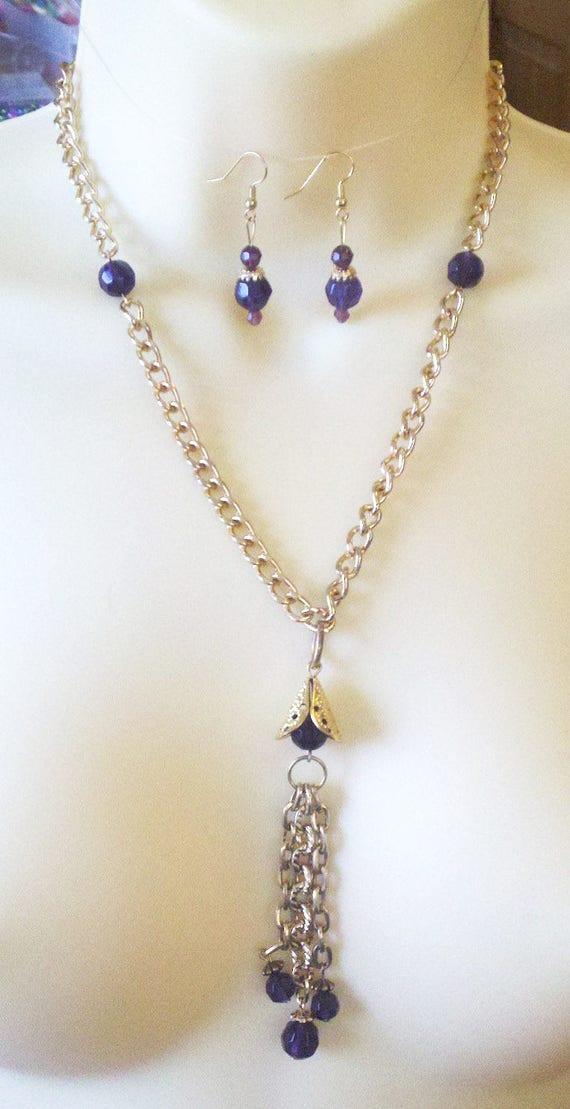 Purple glass bead drop necklace purple bead earrings purple necklaces jewelry set gold chain handmade by Elizavella