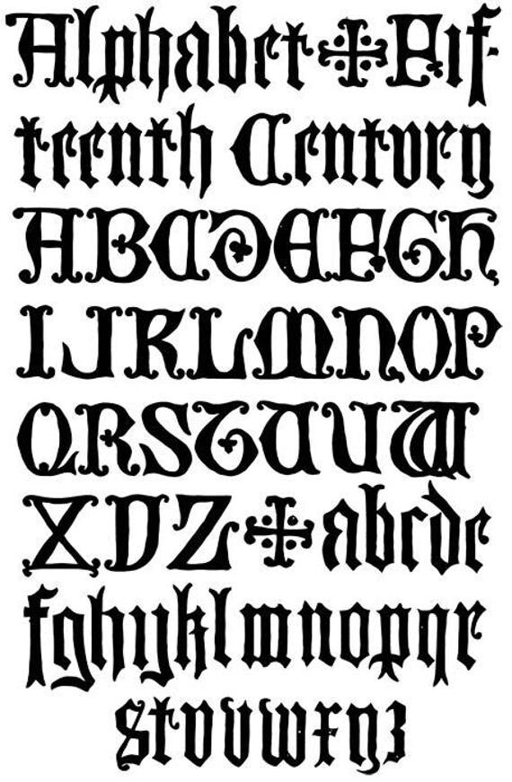 antique gothic letters alphabet text font typography clip art stamp png jpg Digital graphics Image Download printable wall art