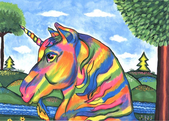Rainbow Abstract unicorn horse original art print fantasy landscape animals beasts fairytale artwork Elizavella Bowers