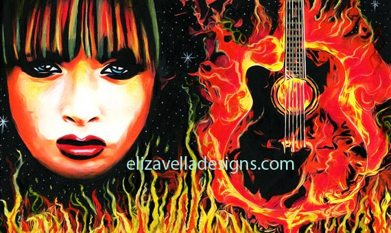 rock Goddess fantasy original art painting fire woman guitar flames original music artwork goth punk pop acrylics by Elizavella