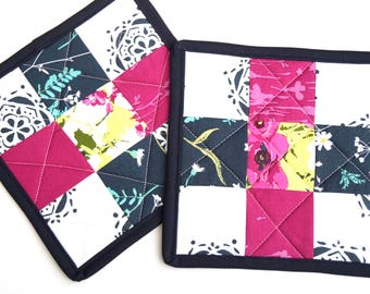 Pink and Blue Pot Holders, Modern Quilted Patchwork Hot Pads