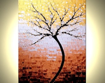 Contemporary impasto abstract floral tree PAINTING, XLarge ORIGINAL gallery wrap canvas art by Dan Lafferty