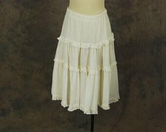 vintage 70s Gauze Skirt - 1970s White Cotton Midi Skirt Ruffled Skirt Sz M
