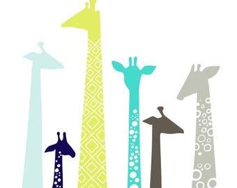"SUMMER SALE 8X10"" modern giraffe silhouettes giclee print on fine art paper. teal, pistachio green, navy, gray"
