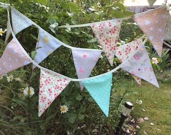 "Floral Bunting / Flag / Garland - Pastel bunting, rose bunting,  2.5m or 98"" long, Wedding garland"