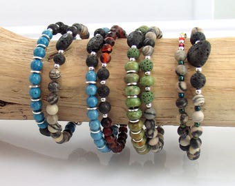 Lava and Stone Beaded Bracelets for Essential Oils, Rustic Stone Memory Wire Bracelets