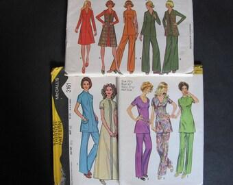 43,44 bust 3Patterns Simplicity 9959, McCalls 3161 and 4322, Vintage 1970s / A line Dress, Shift Dress, Pants, Tunic Top, Vest, 70s retro