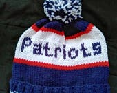 Hand Knitted Patriots Hat, fits -Adults