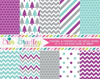 50% OFF SALE Holiday Purple Blue & Gray Digital Paper Pack Commercial Use Instant Download
