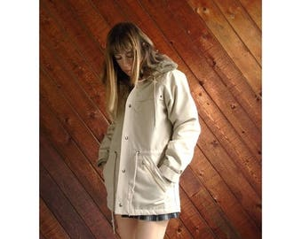 15% Memorial Day Wknd ... Hooded Fur Lined Rain Coat Jacket - Vintage 80s - SMALL