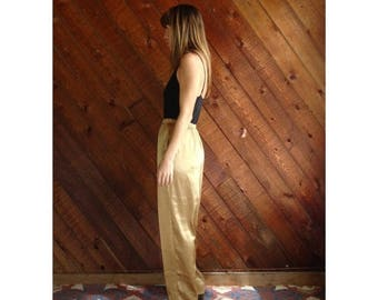 15% Memorial Day Wknd ... Gold Satin High Waist Trousers Pants - Vintage 90s - S/M