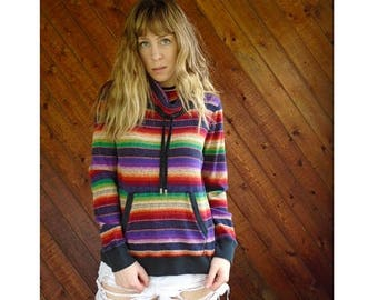 20% off SUMMER SALE. . . Navajo Rainbow Striped Thermal Pullover Top - Vintage 90s - S/M