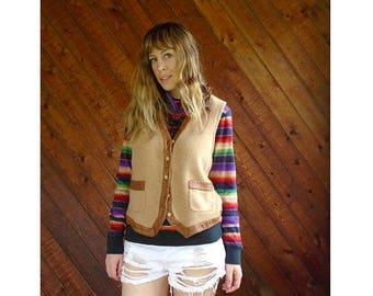 20% off SUMMER SALE. . . Leather Trimmed Ralph Lauren Sweater Vest - Vintage 90s - S/M
