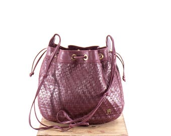 ETIENNE AIGNER Purse Vintage Woven Bucket Bag Burgundy Oxblood Maroon ITALIAN Leather Crossbody Bag