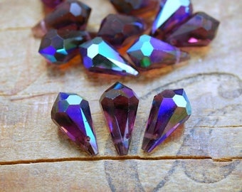 Faceted Amethyst AB Crystal Teardrop Vintage Cut Crystal Drop (4) SD62