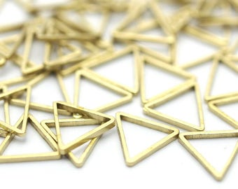 Brass Triangles Charm, 50 Raw Brass Triangles Charms, (9x9x9mm) Bs-1166