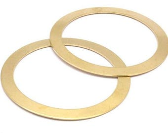 51mm Circle Blanks, 8 Raw Brass Circle Connector Blanks (51x0.70mm) D516