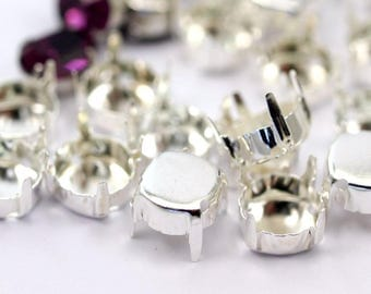 50 Round Silver Plated Brass Pendant Settings 4 Prongs , 8.5 Mm Pad
