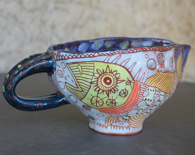 Ceramic Pitcher, Fish pottery, unique handpainted pottery