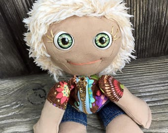 "10"" Tindle Kidz lil' girl doll with moving eyes zipper tummy feed sack baby by Karen Knapp of Tindle Bears"