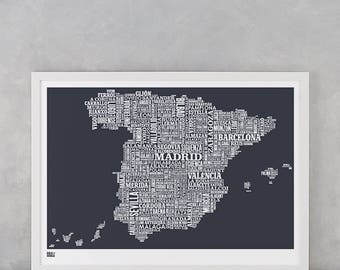 Spain Type Map, Spain Type Map Screen Print, Spain Screen Print, Spain Word Map, Spain Font Map, Spain Wall Poster, Spain Wall Art Print