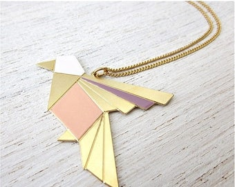 On Sale 40% off, Origami Exotic Bird Necklace in Gold, bird pendant jewelry
