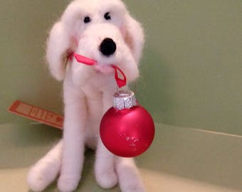 Canine Christmas Felted Wool Ornament - NEW for 2017