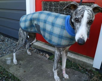checks in blue, red and yellow...winter coat for a small whippet in vintage wool suiting and fleece
