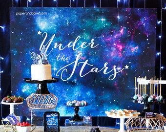 Galaxy | Under the Stars Birthday DIGITAL BACKDROP design FILE to upload to the printer of your choice | Paper and Cake