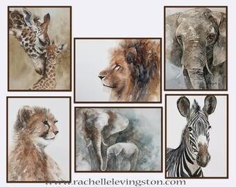 animal nursery art print Safari Nursery PRINT SET modern minimalist watercolor painting african boy girl zebra giraffe cheetah lion elephant