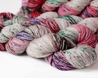 Naughty List 231 yards/ Tweed DK Yarn/ superwash merino 4 ply speckle dyed
