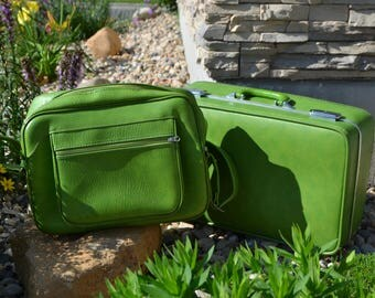 Vintage Luggage and Messenger Bag Groovy Green