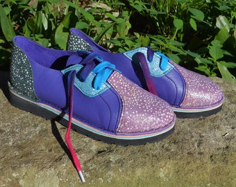Handmade Leather  Shoes Lo Top - Cowhide Blue's Purple. Embossed Stingray GLITTER.  Custom Made or  Stock Size 5, 6, 7, 8, 9, 10