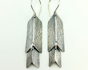 silver chevron earrings - silver earrings - silver jewelry - chevron dangle earrings - handmade - artisan jewelry - silver accessories