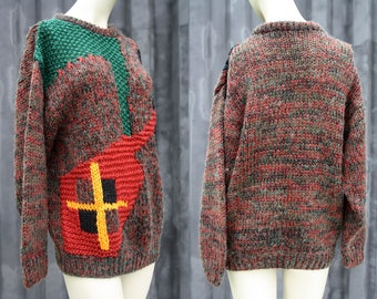 80's Vintage Unisex Red Green and Yellow Abstract Funky Print Men's or Women's Retro Knit Oversize Sweater